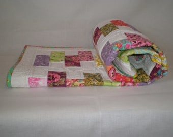ON SALE 20% OFF - Bright crib quilt, colorful quilt for baby