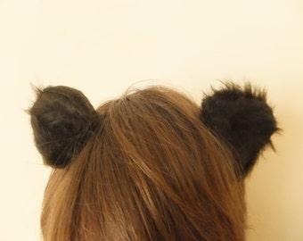 Dark Brown Bear Otter Ears Furry Cosplay Hair Clips Kawaii Grizzly Rat Mouse Cute Halloween Kitsch Animal