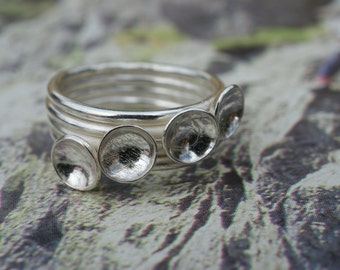 Handmade Sterling Silver four band ring with cup detail