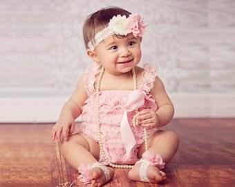 Lace Headband - Ivory and Pink Headband with Jewel on Lace Band - Baby Headband - Toddler Headband - Girl Headband