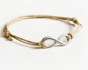 Infinity bracelet - beige/silver