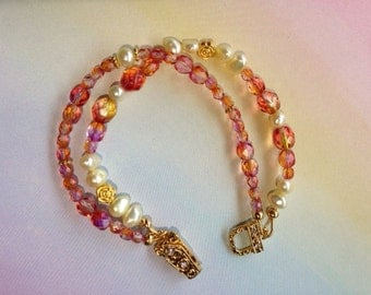 Multistrand Freshwater Pearls and Crystals with Gold Vermeil Beads Bracelet with a Magnetic Clasp