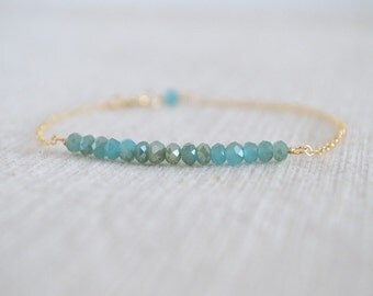 Aqua Crystal Beaded Bracelet, Gold Filled Chain