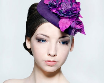 Elegant felt percher with silk dupion flower spray perfect for weddings/ the Melbourne Cup/Ascot