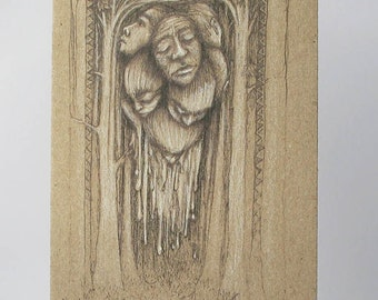 Melting Faces Art Card, Dark Creepy Gothic Art Drawing 100% recycled card