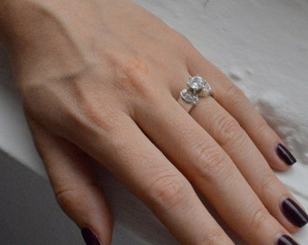CLEARANCE SALE: Solitaire Engagement Ring - Traditional Engagement Ring - Cubic Zirconia Ring - Promise Ring - Silver Ring - Valentine's Day