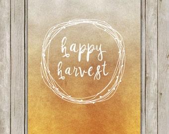 8x10 Fall Art Print, Happy Harvest Printable, Wreath, Thanksgiving Decor, Thanksgiving Wall Art,  Autumn Fall Decor, Instant Download