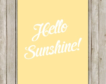8x10 Hello Sunshine Print, Lemon Yellow Nursery Art, Nursery Printable, Printable Art, Nursery Decor, Digital Art, Instant Digital Download
