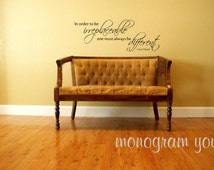 CoCo Chanel Quote Wall Decal 'In order to be irreplaceable one must always be different.'