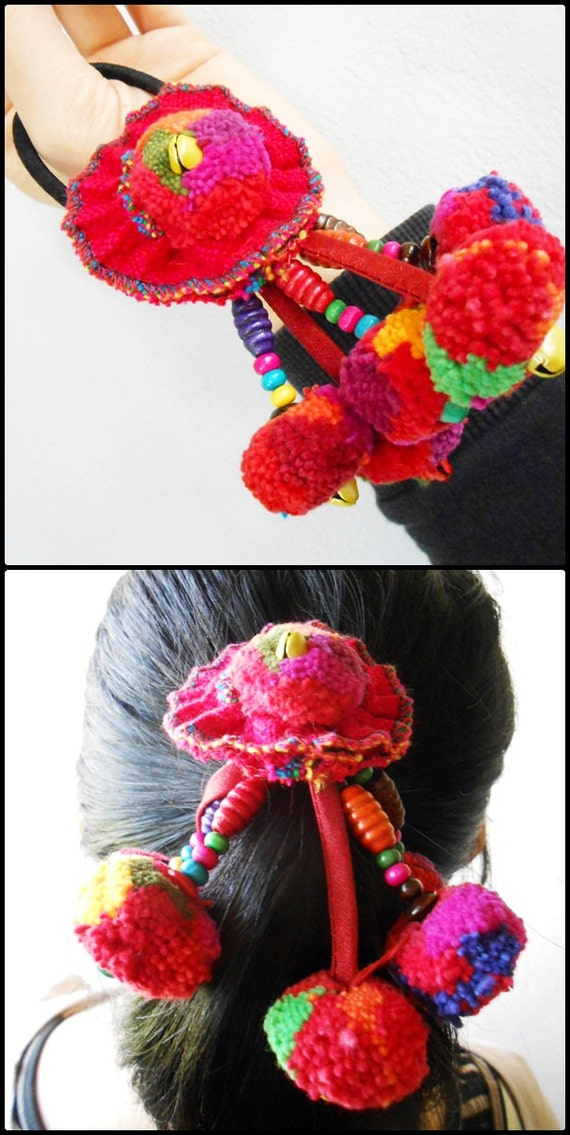 Pom Poms Elastic hair bands Colorful Tribal hair Accessory
