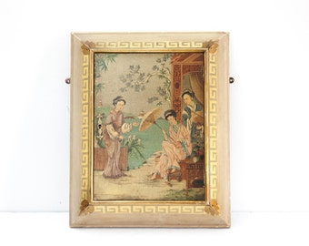 English Hand Painted Chinoiserie Hanging Wall Cabinet