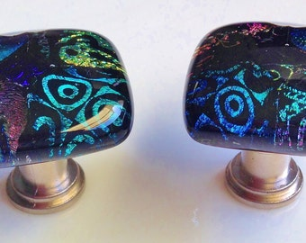 Dichroic Fused Art Glass Cabinet Pulls or Drawer Knobs