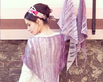 womens hand knit shawl - bohemian shawl - summer shawl - romantic shawl - pink marsala shawl - necklace scarf - unique design shawl
