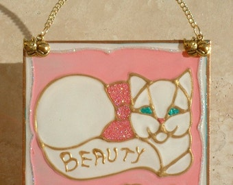 White Persian Cat Art Stained Glass Personalized Cat Gift for Cat Lover Gift, Wall Hanging, Pink Cat Decor Suncatcher Ornament Pet Memorial