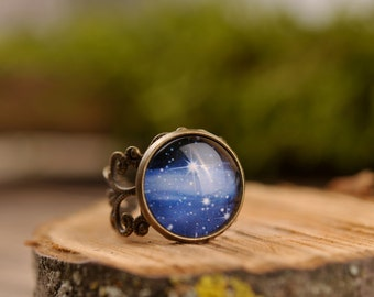 Milky way ring, filigree ring, adjustable ring, statement ring, antique brass ring, space ring, universe ring, galaxy ring,  jewelry gift