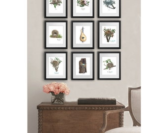 Antique Bird Nest Art Prints Set Of 9 Spring Living Room Decor, Dining Room  Decor