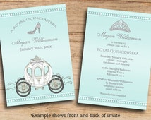 Royal Quinceanera Princess Invites Printable Double Sided Affordable Custom Personalized JPEG Invitations Templates - Changes included FREE