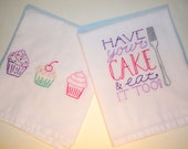 Hand Embroidered Tea Towels, Flour Sack Towels