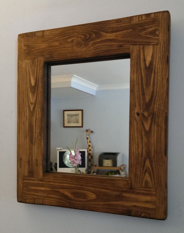 Handmade chunky dark wall mirror natural eco by for Handmade wall frames ideas