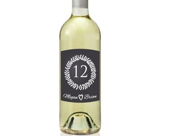 Set of 4 Custom Wine Labels Table Numbers Chalkboard Style Sticker Laurel and Hearts Design