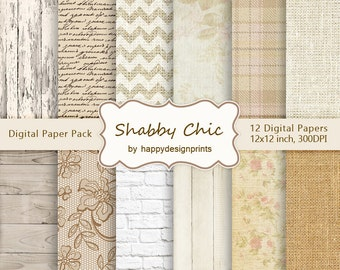 """Shabby Chic Rustic Country Vintage Digital Paper Pack of 12, 300 dpi 12""""x12"""" Instant Download Pattern Paper Scrapbooking Scrapbook JPG"""