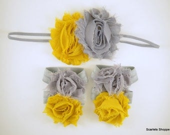 Mustard Yellow and Grey Headband and Barefoot Sandal Set - Baby Headband - Barefoot Baby Sandals