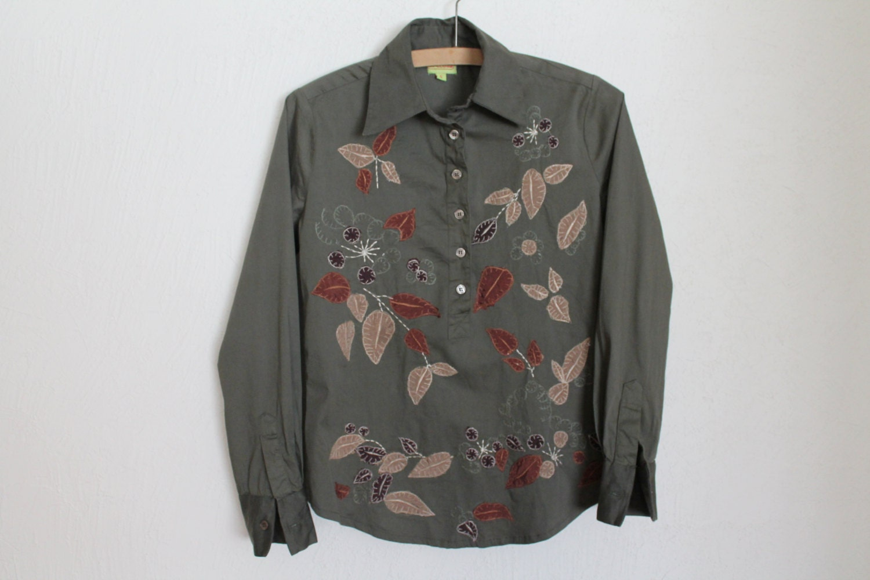 Green Khaki Women Blouse Button Up Shirt Long By Vintageagency