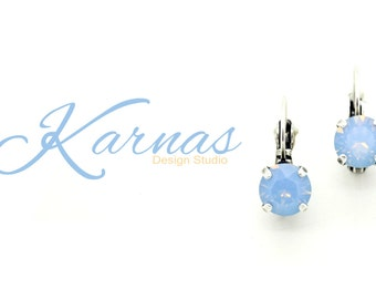 AIR BLUE OPAL 8mm Crystal Chaton Drop Earrings Made With Swarovski Elements *Pick Your Finish *Karnas Design Studio *Free Shipping*