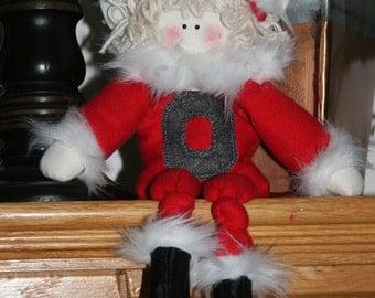 Ohio State Santa Buckeye Block O Elf for Christmas Holiday Winter Season for an Ohio State Buckeye Fan