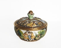Vintage Trinket Box, Italian Jewelry Vanity Box, Capodimonte Porcelain Dresser Box, Lidded Bonbonniere, Italy