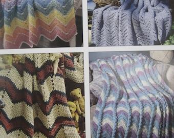 Crochet Pattern Book - Beginner's Guide - Ripple Afghans - 6 Designs - by Leisure Arts little books #75001