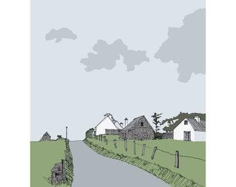 Irish cottages, Achill, County Mayo, Ireland, Irish landscape print, rural view Ireland, West coast Ireland picture, Irish gift, Ireland