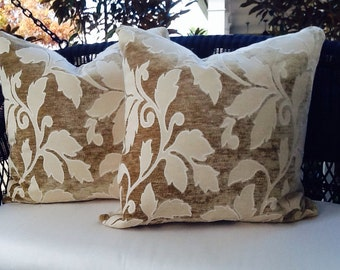 Tan and Cream Donghia Leaf Print Pillow Cover, Cream Linen Blend Backing