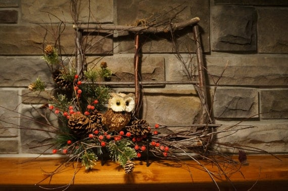 Items similar to clearance sale owl wreath rustic Clearance home decor