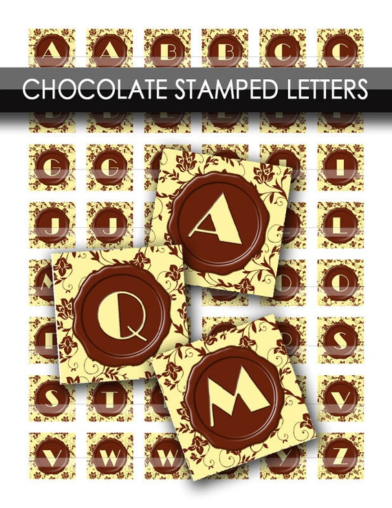 chocolate shop stamped monogram letters on cream brown With chocolate monogram letters