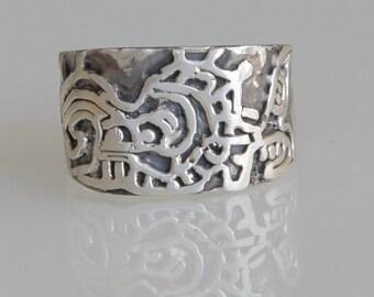 Mayan ring - Camazotz ring - Mayan god ring - Sterling Silver .925 - pirate ring - explorer's ring