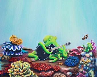 "Octopus' Garden Giclee Print 8"" x 8"""