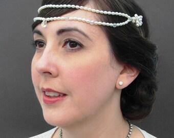 Freshwater Pearl Bridal Headband, Pearl Wedding Tiara, 1920's Style Wedding Headpiece, Vintage