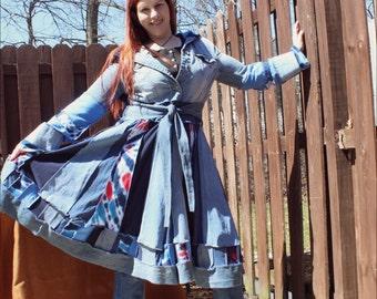Custom made Denim and tie dye Coat
