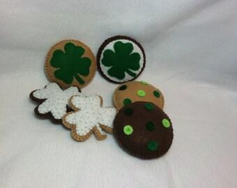 St Patrick's Day Cookies, Felt Food, Felt Cookies