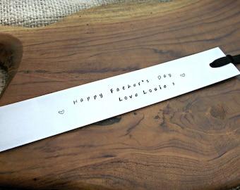 Hand stamped personalised aluminium bookmark