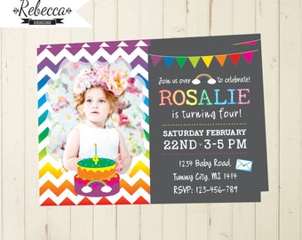 rainbow invitation  first birthday girl  rainbow party chalkboard invitation chevron girl invitation 4th 5th 6th 3rd birthday invitation 236