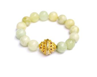 Stretch Bracelet, Green Chalcedony Bracelet, Gemstone Jewelry