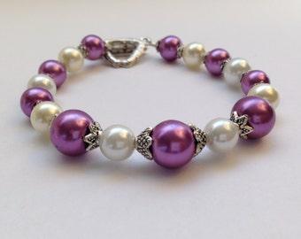 Purple / White - Bridal Vintage Style Beaded Bracelet
