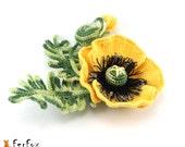 Yellow Poppy Brooch, poppy jewelry, flower brooch, poppy pin, crochet flower