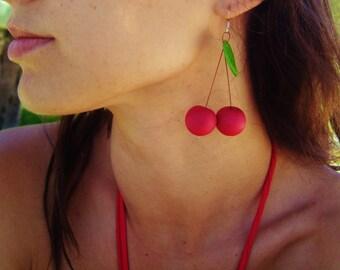 Cherry earrings Handmade earrings Polymer clay earrings Summer earrings Red earrings Fruit earrings Silver earrings Birthday present