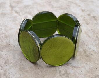 Plastic retro style bracelet    green    circle shape