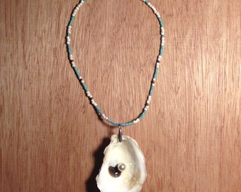 Oyster Shell with Pearl Necklace-  on Turquoise, White and Gold Beads