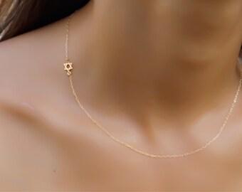 Star of david necklace,tiny gold star of david gold necklace, gold necklace, sideways star of david necklace, gold Magen david necklace