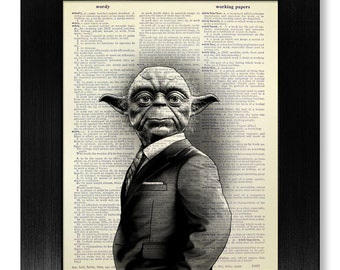 Star Wars YODA Poster, 1st Wedding ANNIVERSARY Gift Man Him, First FATHERS Day Gift from Daughter Son Wife, Cool Yoda Art Print Wall Decor